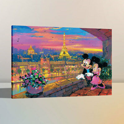 Canvas Art HD Print Oil Painting Disney Paris Sunset Home Wall Decor 12x16