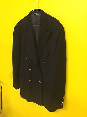 Vtg Polo Ralph Lauren Sports Jacket Double Breast Button Sailor 46R Made In Usa