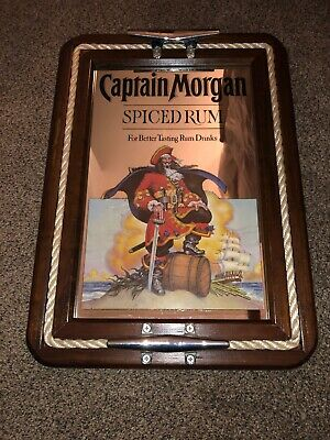 (L@@K) Captain Morgan Spiced Rum Rope Ship Boat Mirror Sign Nautical Pirate Bar