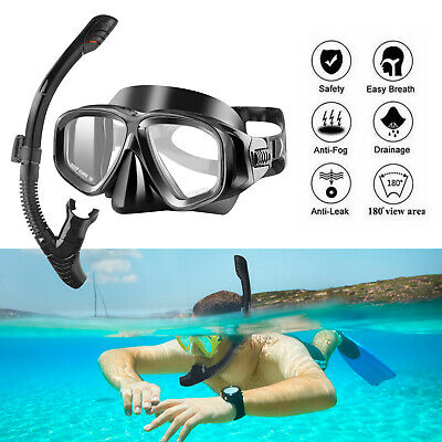 Half Face Snorkel Mask Scuba Diving Free Breath Underwater Anti Fog Dry +Goggles
