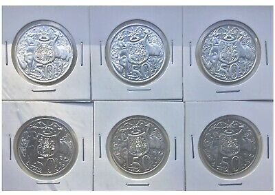 1966 Australian round 50 cent coins. Lot of 6. Vintage silver coins in holders!