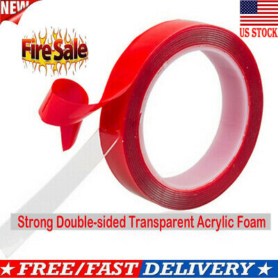 2m Strong Double-sided Clear Transparent Acrylic Foam Adhesive Tape 24mm Deko US