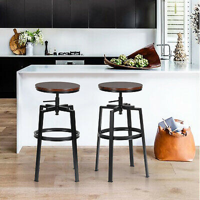 2PCS Industrial Retro Wood Bar Stool Chair ScrollUp With Leg Stopper Metal 75cmH