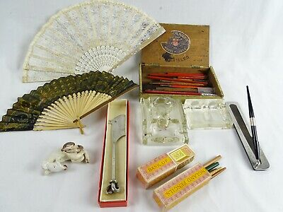 Antique & Vintage Bulk lot inc Pens Pencils Cigar Box Fans Cheese Knife ink Well