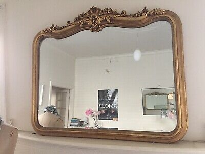 Antique Overmantle Victorian Mirror Elegant Gold Ornate Carvings French Style