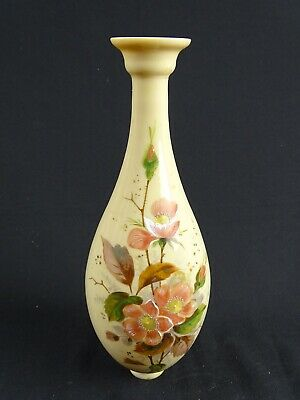 Antique Victorian hand painted milk Glass Bottle vase as collected England 19thC