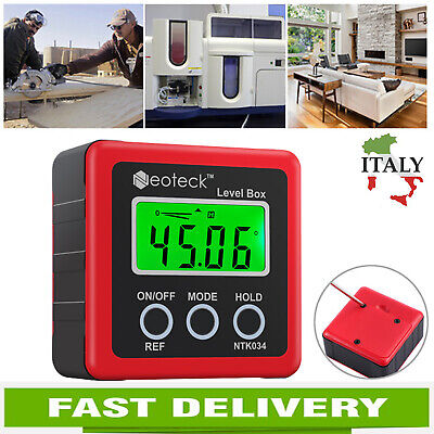 LCD Digitale Inclinometro Goniometro 4 * 90° livello box con base magnetica
