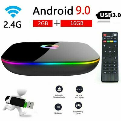 SMART TV BOX Q-PLUS ANDROID PIE 9.0 2GB RAM 16GB 6K Iptv dazn WIFI NEW 2019