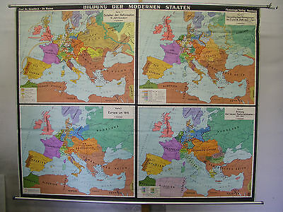 Schulwandkarte Wall Map European Country Europa after Medieval 204x162 ~ 1955
