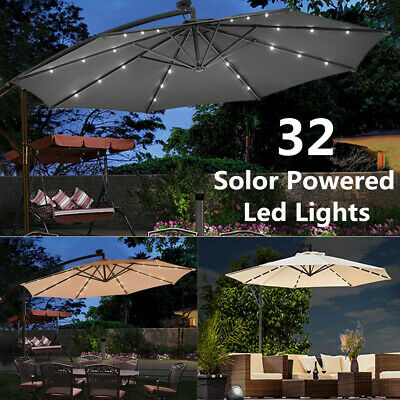 3M Outdoor Solar Patio Garden Led Lights Hanging Umbrella Fairy Parasol Sunshade