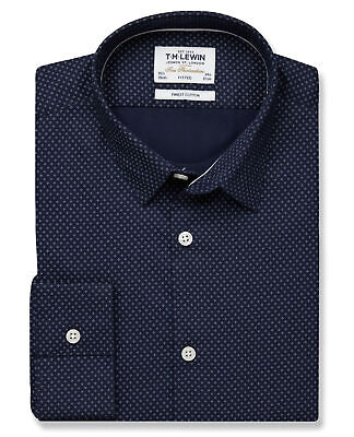 T.M.Lewin Fitted Navy White Diamond Print Shirt - Button Cuff