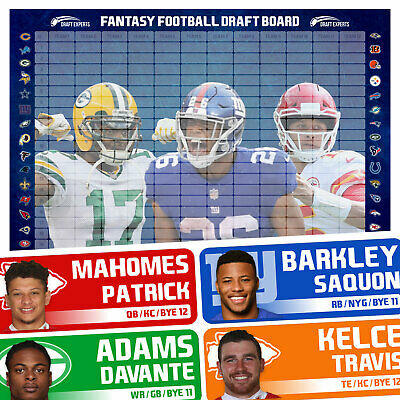 Fantasy Football Draft Board 2019 / Fantasy Football Draft Kit / FAST SHIPPING