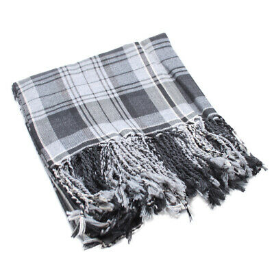 New Scottish Highland Kilt Tartan Polyviscose Fly Plaid - Hamilton Grey