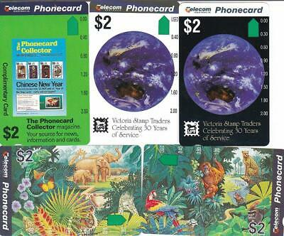 Telstra $2 Phonecard Coll Vst $2 And Zoo Pair Note 1 Back Reversed !!  Mint Y92