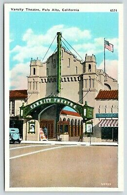 Palo Alto California~Varsity Theatre Close Up~Ticket Booth~Posters~1920 Postcard