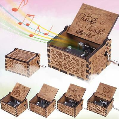 Antique Wooden Carved Hand Crank Music Box Musical Toys Birthday Xmas Kids Gifts