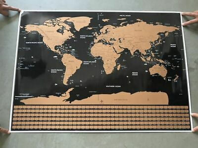 New Deluxe Scratch Off World Map Poster Journal Log Giant Flag Map with Tube