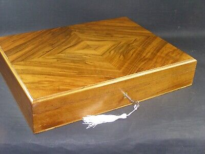 Antique Book Matched Walnut Veneered Box Working Lock & Key c1890 Rounded Edge