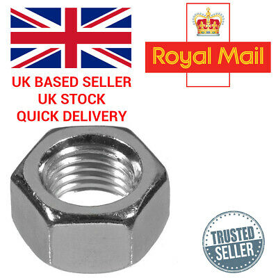 Full Nut Hexagon Hex Coarse Steel A2 Stainless