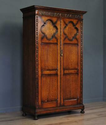 Lovely Large Antique Carved Panelled Oak Double Door Wardrobe Hall Cupboard