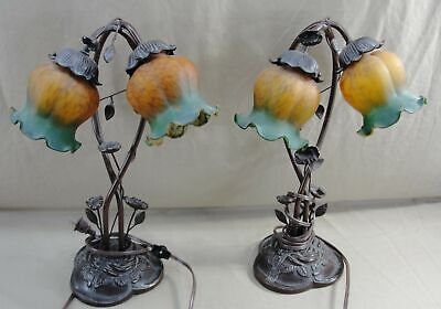 Antique Style Pair Art Nouveau Side Night Table Lamps Amber Lilac Tulip Shades