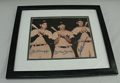 Joe Dimaggio Mickey Mantle Ted Williams Signed Autographed Framed Photo Yankees