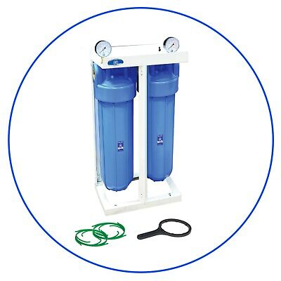 """Two In-line 20"""" Aquafilter Housing Set for Pure Water Filter HHBB20A BIG BLUE"""