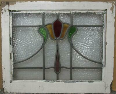 "OLD ENGLISH LEADED STAINED GLASS WINDOW Abstract Floral Sweep 20.75"" x 17"""