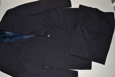 Jos A Bank Navy Blue Pinstriped 2 Button Suit Jacket Mens Size 36R 36 X 28