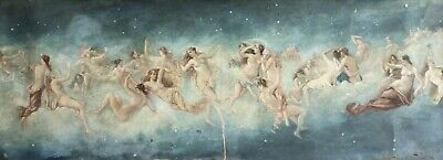 19th CENTURY ENORMOUS FRENCH OIL - NYMPHS IN CLOUDS - STUNNING PAINTING