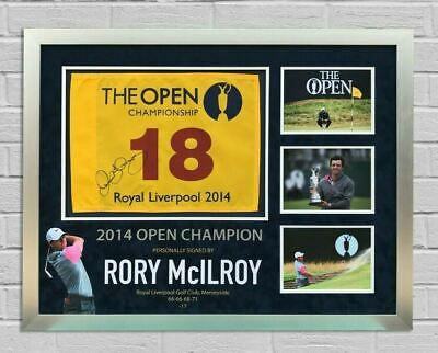 Rory McIlroy SIGNED & Framed 2014 OPEN CHAMPIONSHIP PIN FLAG AFTAL COA (A)