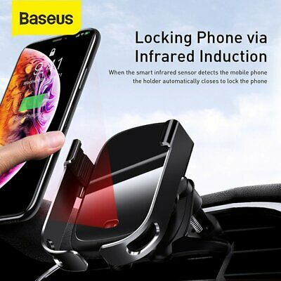 Baseus Car Air Vent Phone Holder Qi Wireless Charger Electric Intelligent Mount