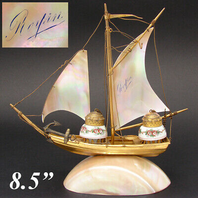 "Antique French Mother of Pearl Sail Boat, Ship, ""Royan"", Souvenir Double Inkwell"