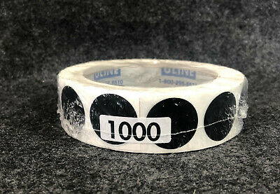 """NEW Uline Blank Inventory Circle Labels 1"""" 1000 Black Stickers Roll S-2235 2235"""