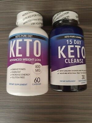 Duo pack Keto pure Diet Pill Weight loss fat burn carb block + Keto Cleanse