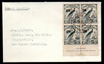 New Guinea: 1933 Air cover franked marginal 3d 4-blk to Bouganville from Bulowa
