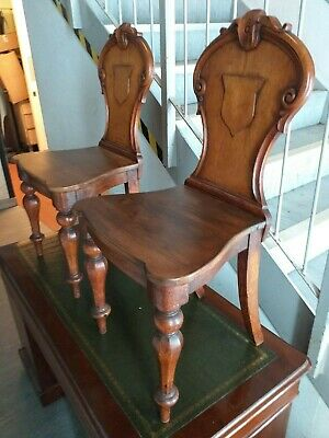 PAIR VICTORIAN antique CARVED shield motif OAK HALL CHAIR set CHAIRS