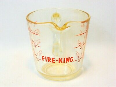 Vintage Fire King 8-Oz Measuring 1-Cup Red Lettering No. 496!