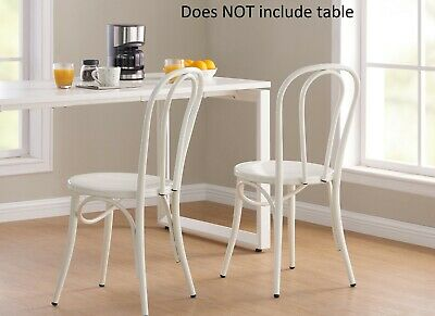Set of 2 White Kitchen Chairs Steel Metal Classic modern design Seating