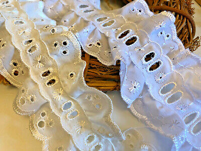"""Frilled Gathered lace White 35mm~1 3//8/"""" trimmings~SLFR0037."""