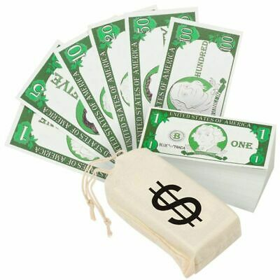 Play Money for Kids, 300 Pcs Learning Money with Canvas Bag for Counting Money