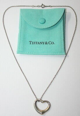 Tiffany & Co Sterling Silver 925 Peretti Large Open Heart Pendant Necklace NICE