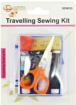 Travelling Sewing Kit including thread, buttons, needles, safety and dress pins