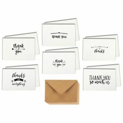 48 Pcs Thank You Cards Bulk Set, 6 Different Postcard Style with Kraft Envelopes