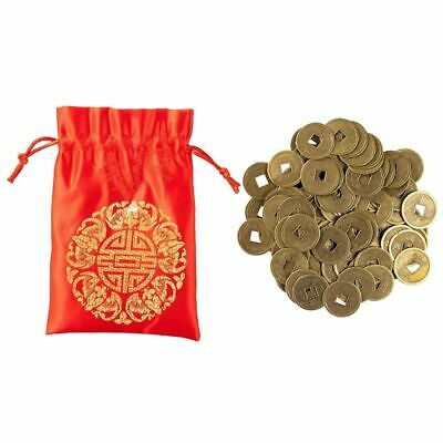 Juvale Feng Shui Coins Chinese Lucky Fortune Ching Money 100 Pieces with Red Bag