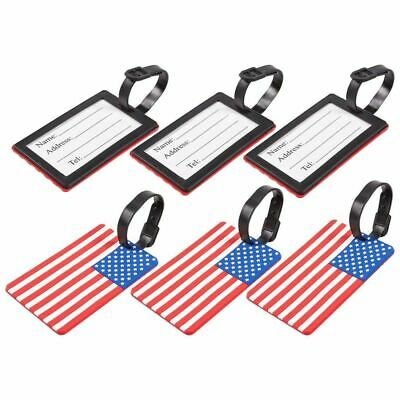 6-Pack American USA Flag PVC Luggage Tags Travel Baggage ID Labels for Backpacks