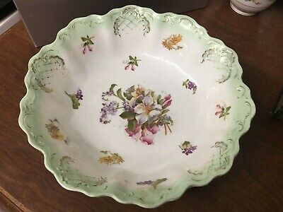 """Lovely Hand Painted 9"""" Bowl Multi-colored Floral Design Green Edge Unmarked"""
