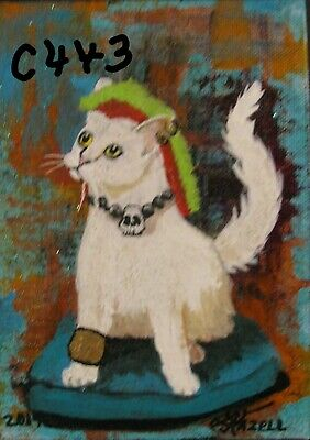 "C443        Original Acrylic  Painting By Ljh    ""Mohawk Hippie Cat"""