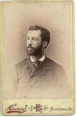 62446 ca 1890 Cabinet Photo Handsome Bearded Young Man fraternal pin Altoona PA