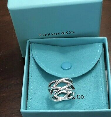 Tiffany & Co. Wide Weave Braid Celtic Knot Sterling Silver Ring Size 8